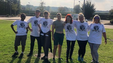 Donning their Gorgeous George t-shirts, the team of NHS staff trekked 15 miles for their fundraiser
