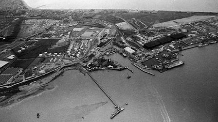 Felixstowe Port from the air in May 1972. The town is in the top left of the photograph.