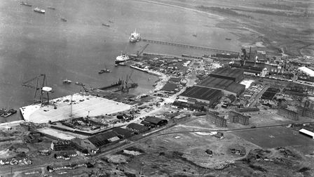 Felixstowe Dock from the air in July 1967.
