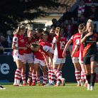 Arsenal's Katie McCabe (second left) celebrates scoring their side's first goal of the game with tea