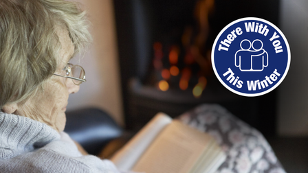An elderly woman reads a book. Inset: There With You This Winter