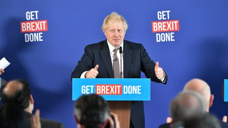 Prime mnister Boris Johnson speaking at a press conference on the election trail. Photograph: Domini
