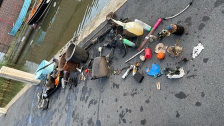 Rubbish pulled out of the river by Norfolk Paddle Meet Up Group