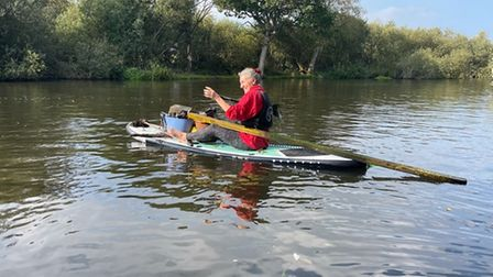 Norfolk Paddle Meet Up Group member Gill during a clean-up