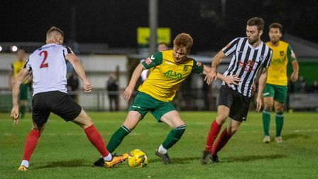 Lawrie Marsh in action for Hitchin Town in their 2-0 loss to Coalville Town at Top Field.