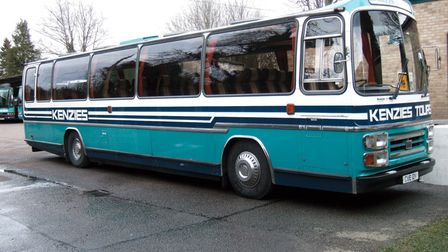 Kenzies CVE 12V Volvo Supreme at the depot, showing the distinctive livery