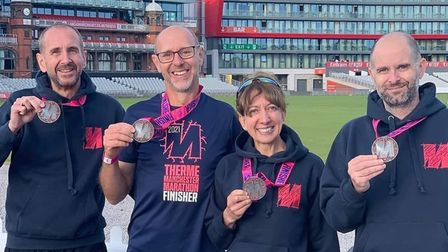 Four of the eight Fairlands Valley Spartans finishers at the Manchester Marathon.