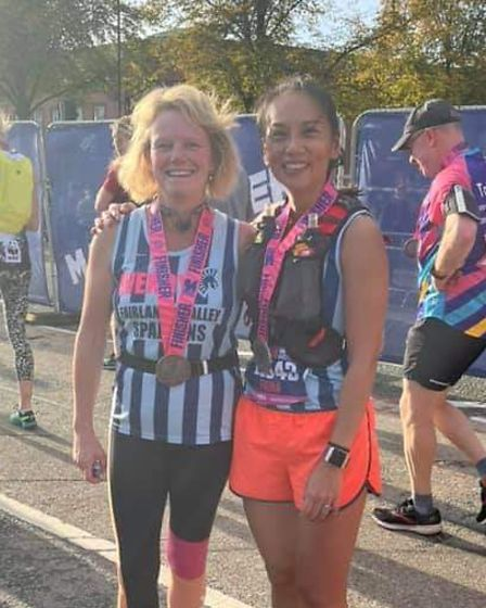 Wendy Tharani and Fiona Clarke ofFairlands Valley Spartans at the Manchester Marathon.