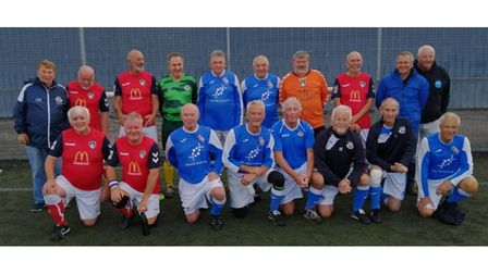 Weston over-65s and Eastleigh over-65s pose for the camera.