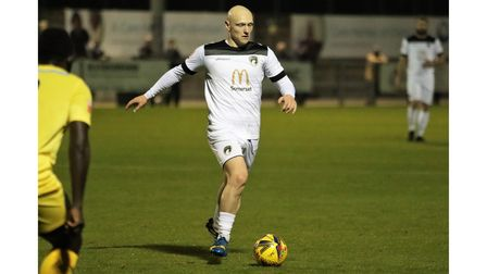 Lloyd Humphries on the ball for Weston AFC during their match with Yate Town at The Optima Stadium.