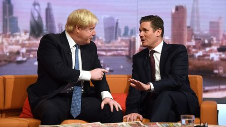 Labour leader Keir Starmer and the Prime Minister Boris Johnson clashing on TV. Picture: Victoria Jo