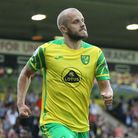 Teemu Pukki of Norwich celebrates scoring his sides 1st goal from the penalty spot during the Premie