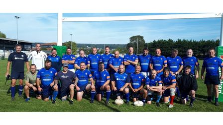 All smiles for Weston RFC Vets as they pose for the camera.