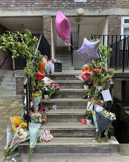 A vigil set up in memory of Nicole Hurley killed in Primrose Hill