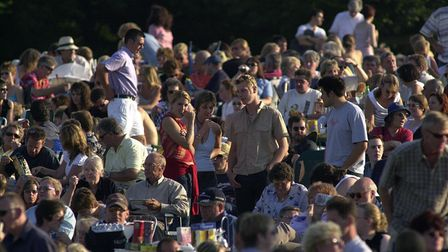 Blickling, Bryan Adams gig, the audience assembles before the concert. edp 29/7/02
