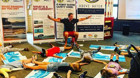 Above Water teaching �float to stay safe� at Paignton Library