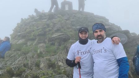 St Albans estate agents Dan Kirk and David Murray pictured at Snowdon's summit.