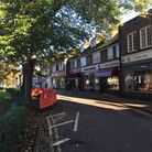Harpenden High Street with social distancing measures in place.