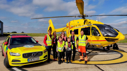 The Youles family meet up with Suffolk Accident Rescue Service East Anglian Air Ambulance staff.