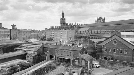 Looking south across the Milk Dock towards St Pancras station, 1990.
