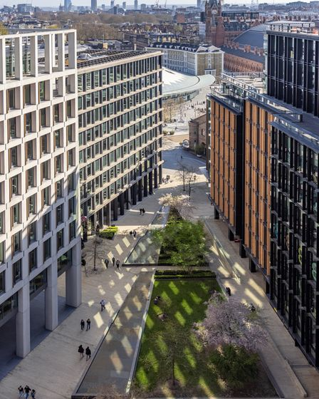 Spring sunlight reflected off the windows of pancras Square, King's Cross