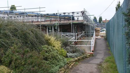 Work in progress on the roof repairs and refurbishment at the Hellesdon Community Centre costing £90