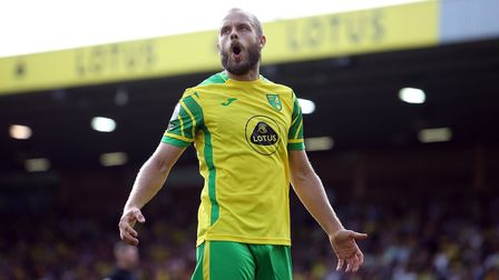 Teemu Pukki of Norwich rues a missed chance during the Premier League match at Carrow Road, Norwich