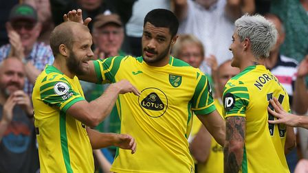 Teemu Pukki of Norwich celebrates scoring his side's 1st goal during the Premier League match at C