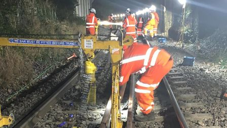Engineers working to restore track on the Felixstowe branch line