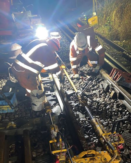 Work to restore rail track on the Felixstowe branch line