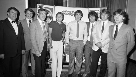 Bobby Robson and the Ipswich Town stars who appeared in Escape to Victory with Gaumont manager David Lowe