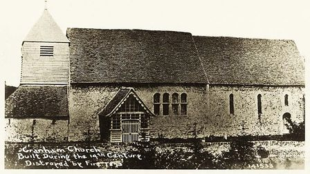 A view of Cranham's church in 1873 from a Bell's postcard, with incorrect captioning