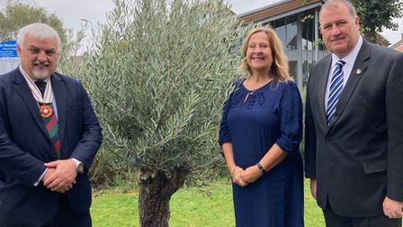 Councillors by olive tree