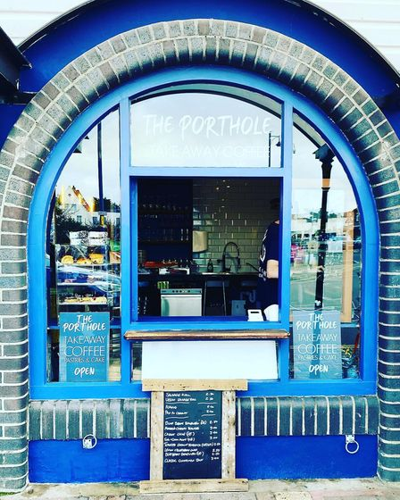 The Porthole, a coffee takeaway window at the Gangway bar in Sheringham