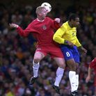 23-05-00 Wales v Brazil ©Huw Evans, Cardiff. Wales Iwan Roberts outjumps Emerson