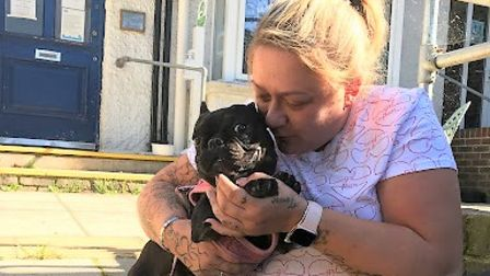Stolen French bulldog, Cherry, has been reunited with her owner, Viv Joyce (pictured) at her Wisbech home.
