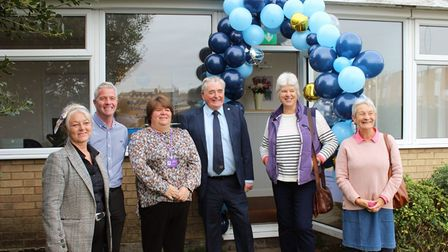 Cllr Sam Clark (third left) pictured with staff from Citizen's Advice Rural Cambs at the opening of the charity's new office