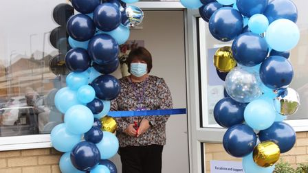 Cllr Sam Clark (pictured) cutting the ribbon to officially open Citizens Advice Rural Cambs' new office