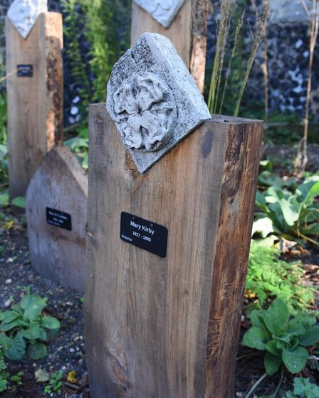The markers naming Norwich botanists over the years at the new Norwich Botanists' Garden at St Marti