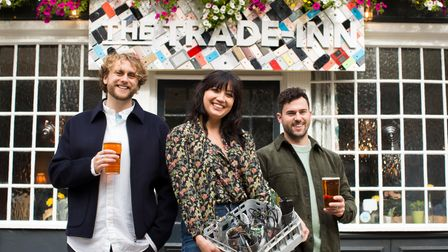 Spring co-foundersJames Seear andTom Williamswith modelDaisy Lowe at the Trade Inn in Shoreditch.