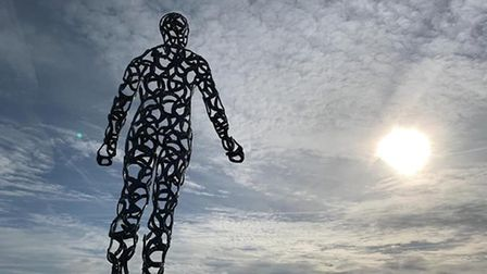 The sculpture has appeared on the beach at Kessingland, near Lowestoft