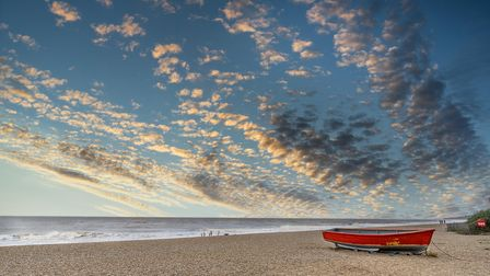 Sunset over Dunwich beach in Suffolk wast anglia England