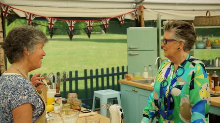 Prue and Maggie during biscuit week in the GBBO tent