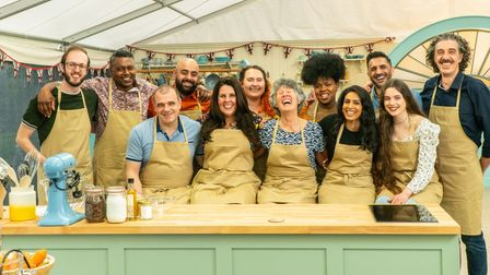 Always laughing- Maggie with her fellow bakers for the GBBO 2021 challenge