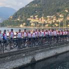 The Columban Cycling Club on their charity ride through northern Italy.