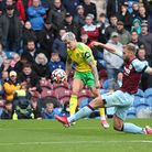 Mathias Normann of Norwich goes close during the Premier League match at Turf Moor, Burnley Picture