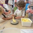 Pupils at Therfield First School prepared an afternoon tea for people in the village