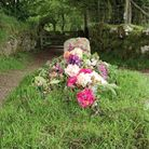 Floral display on the grave