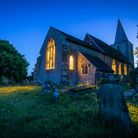 St Nicholas Church at midnight in Pluckley village, the most haunted village in England
