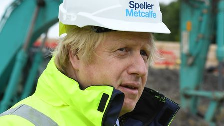 Prime Minister Boris Johnson during a visit to the Speller Metcalfe's building site at The Dudley In